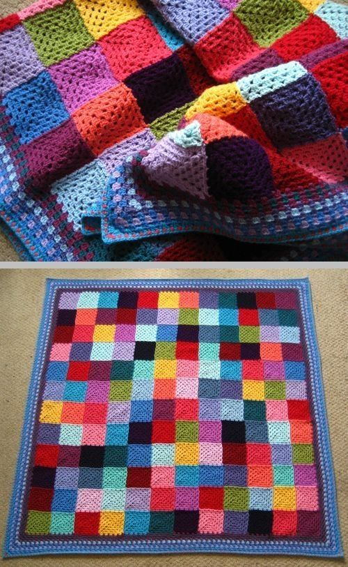 Lucy's Granny Patchwork blanket - scrap yarn classic granny squares with a pretty border by RuLo