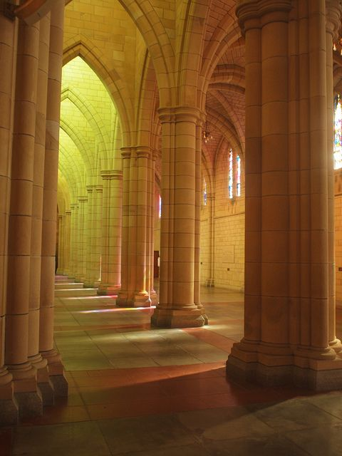 Gothic Revival sandstone design with vaulted ceilings in St John's Cathedral, Brisbane, Australia (by Merynda).