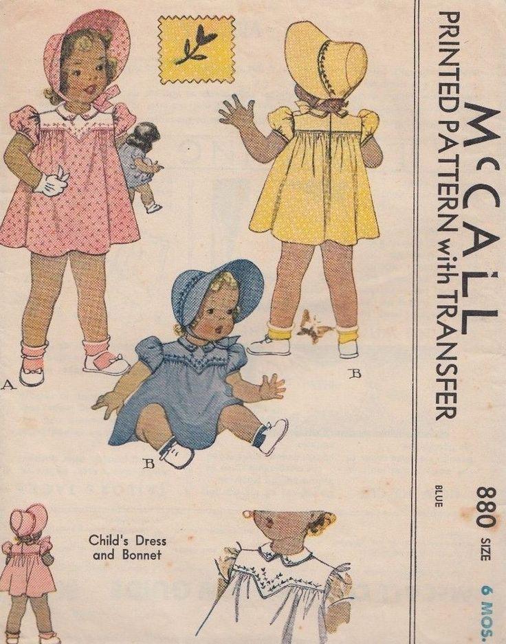 Vintage McCall Child's Dress & Bonnet, Sewing Pattern Sz.6 Months  # 880