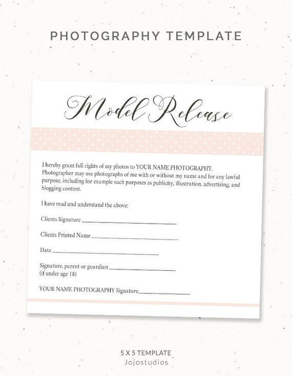Photography Model Release Form Template, Photography Template