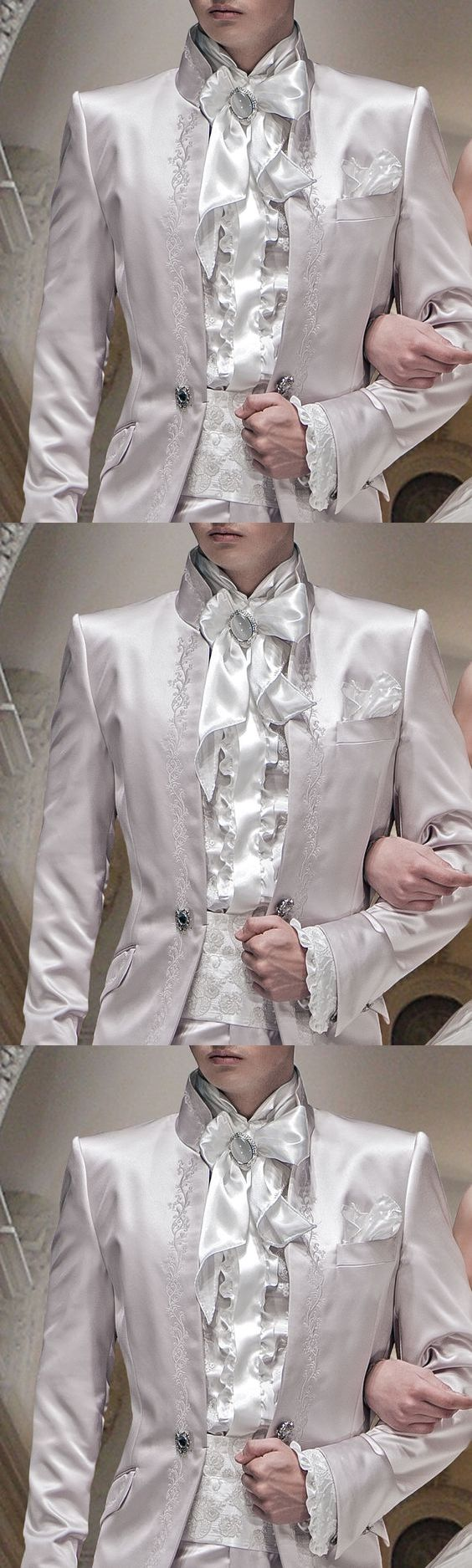 Ivory Embroidery Satin Tuxedos For Men Italian Style Men Suits Formal Party Blazer With Pants Groom Wedding Prom Suits
