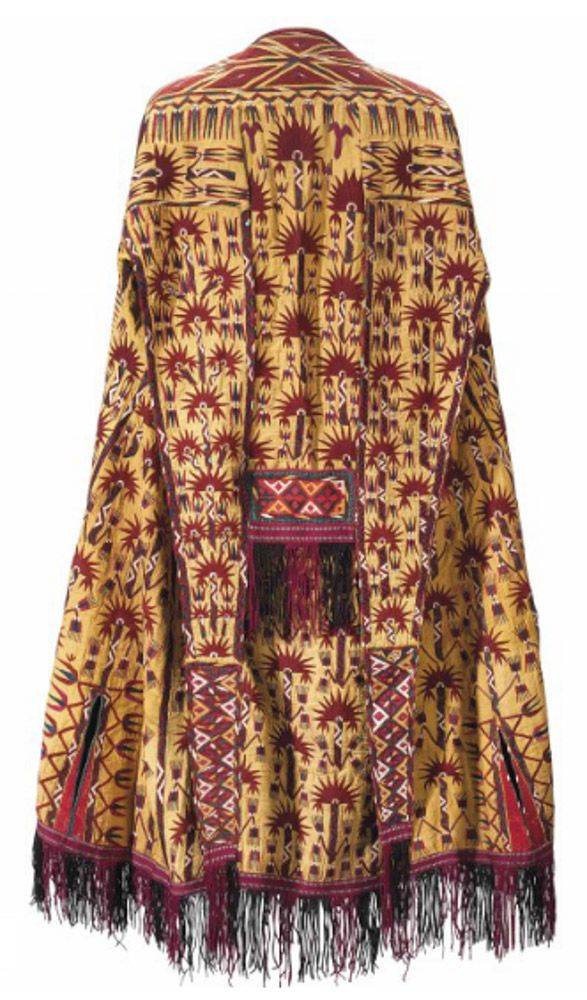 Tekke Turkmen married woman's yellow ceremonial coat (Chyrpy), Central Asia, 19th century, Estimate £3,000 – 5,000