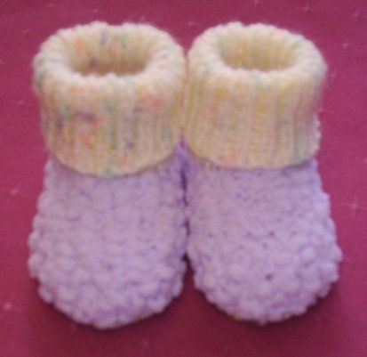 Sock Booties handknitted by me. Available in loads of different colours - on website or FB page. Butterfly Babywear Boutique.