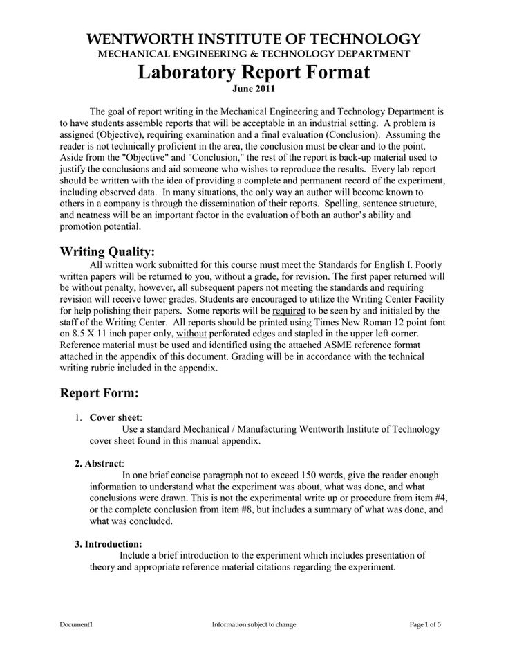 Laboratory Report Format With Engineering Lab Report Template In