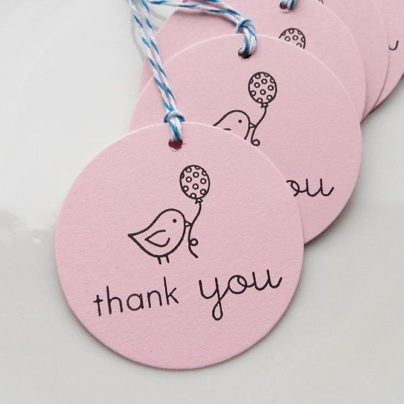 Thank You Tags Little Bird - Set of 8 - Custom Colors Available - Baby Shower…