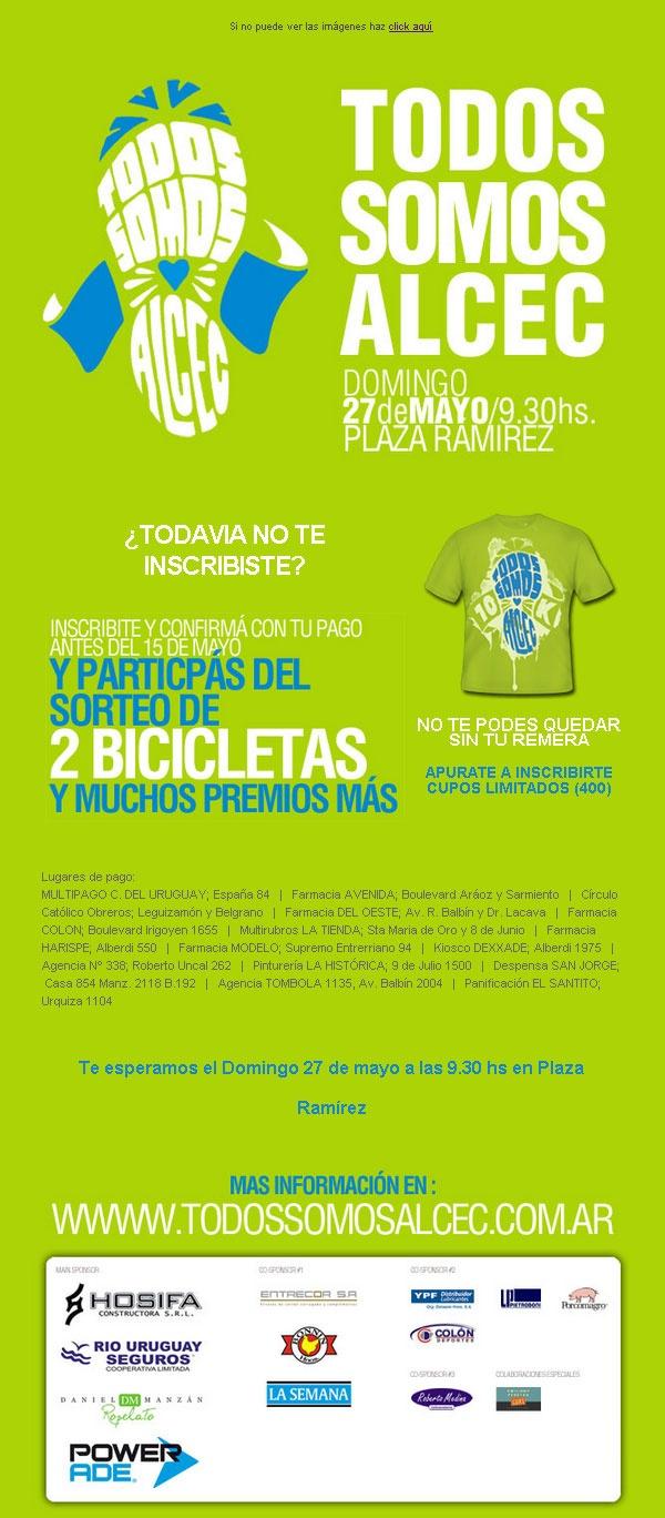 Campaña Email Marketing para inscripción Maraton Solidario contra el Cancer - www.todossomosalcec.com.ar