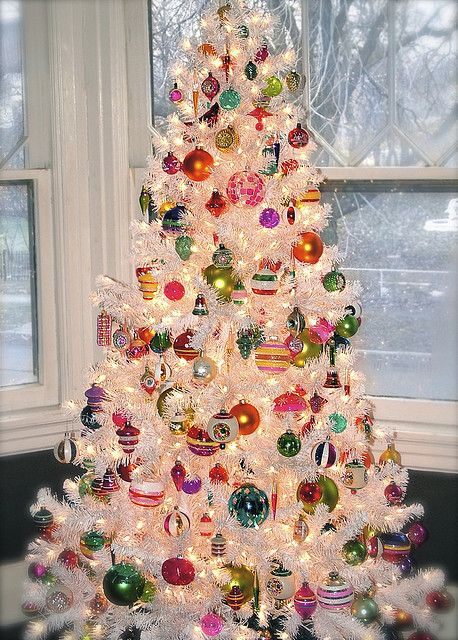 Shiny Brite ornaments on a white tree
