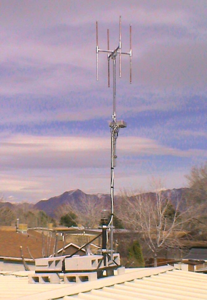 The Df Array As Installed On The Roof Using A Ballast Mount Ham Radio Antenna Ham Radio Antenna