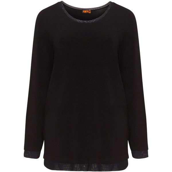 Aprico Black Plus Size Long sleeve mesh detail top (3,155 PHP) ❤ liked on Polyvore featuring tops, black, plus size, mesh panel top, mesh insert top, sleeve top, long sleeve tops and women's plus size tops