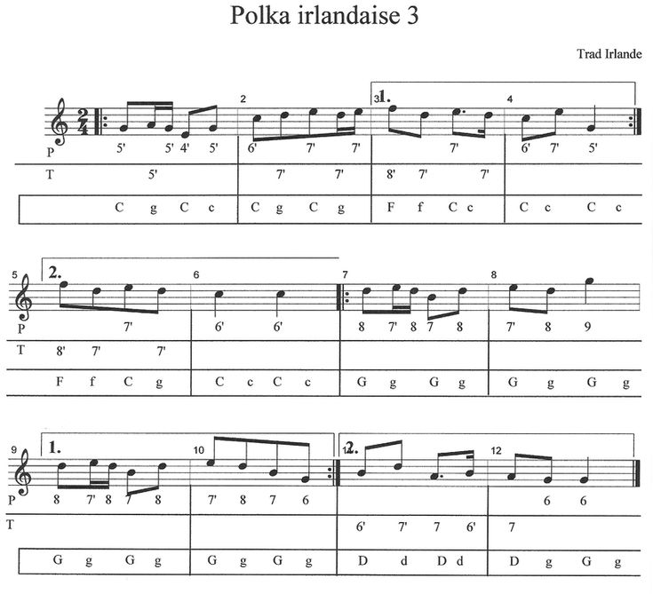 Atelier Folk, Accordéon et bloody mary: Polka irlandaise 3  tablature Diato