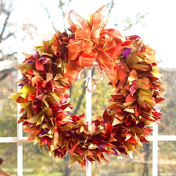 Ribbon wreath....looks great for fall, but change the colors and it's great for any season.