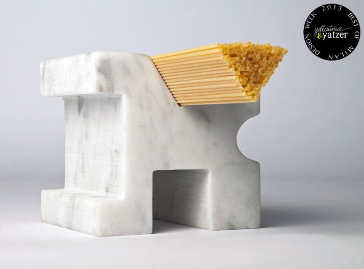 Carattere tipografico,  a kitchen 'body type' made from single piece of marble for measuring correct amount of spaghetti. Designed by Studio Lievito