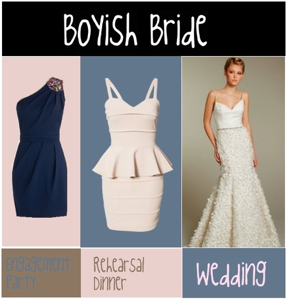 A boyish bride is going to want to create curves by using cinching or gathering at the waist, or peplum. A mermaid gown is usually the best idea for this kind of body-type. Those dresses are made to create the hourglass look as well as play up and create curves where they don't necessarily exist.