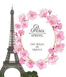 Vector: Eiffel tower and Tulip bouquet. Tulip bouquet isolated over white. Vector illustration.