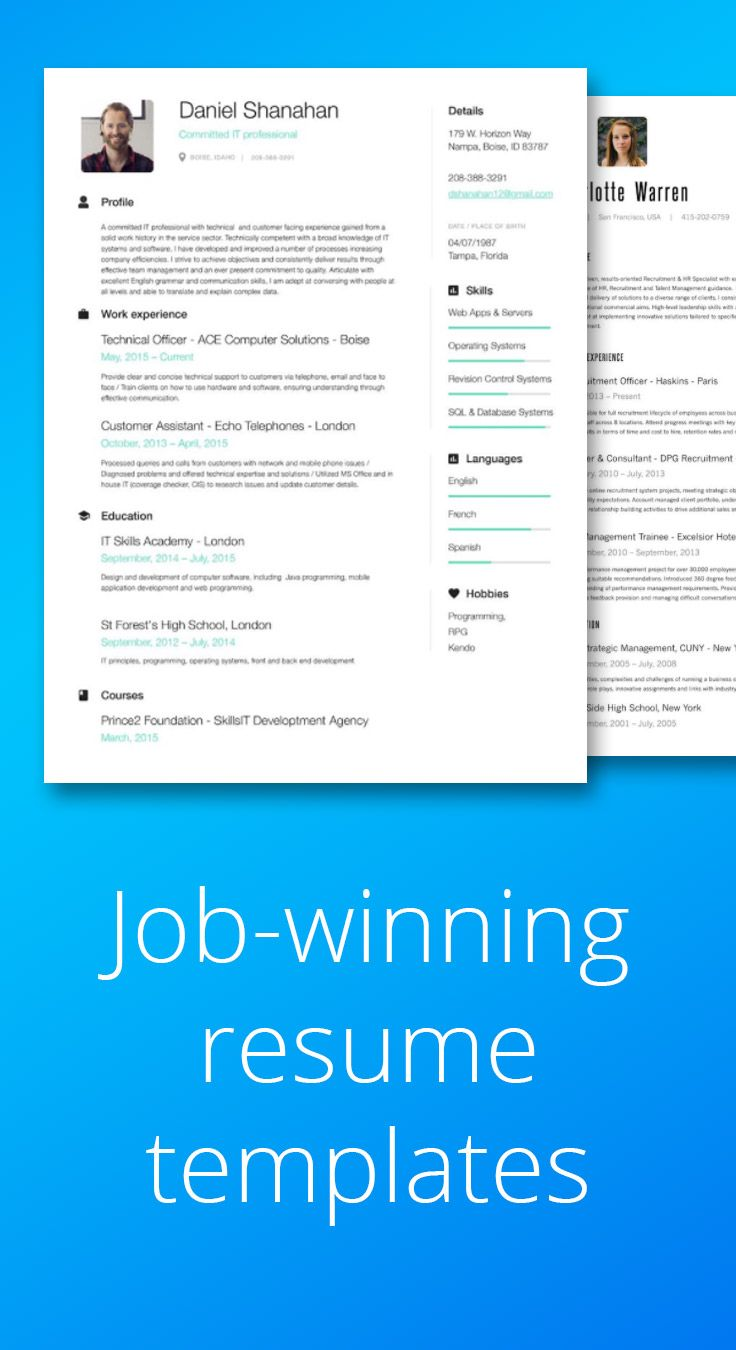 resume templates available with this online resume builder