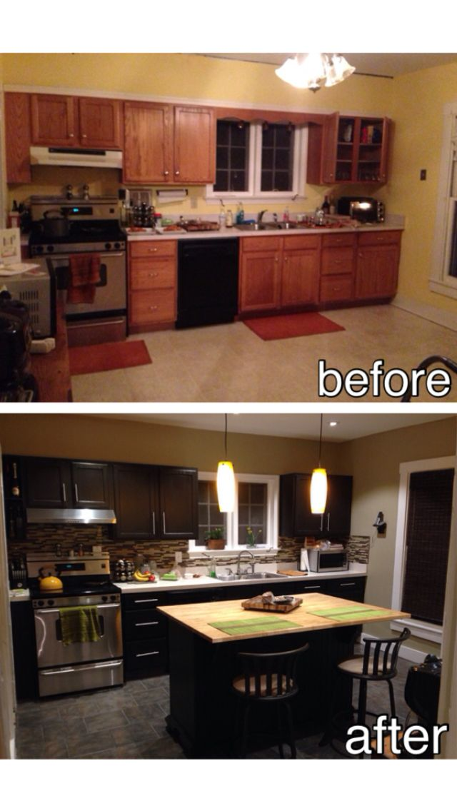 DIY- kitchen before and after.