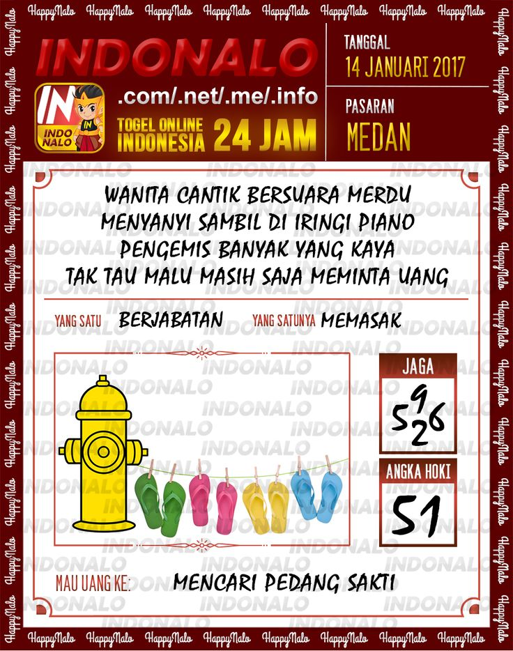 Kode Hoki 2D Togel Wap Online Live Draw 4D Indonalo Medan 14 Januari 2017