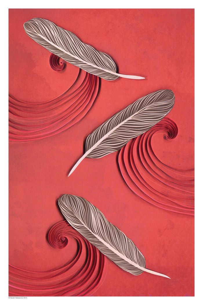 Feathers in the wind paper art print feather by YakawonisQuilling