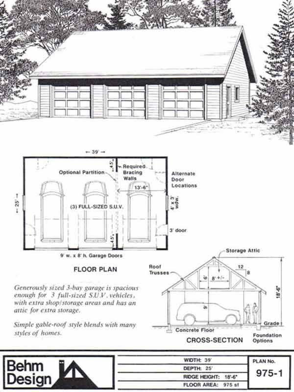 3 Car Garage Plan With Attic Truss Roof Plan 975 1 By Behm