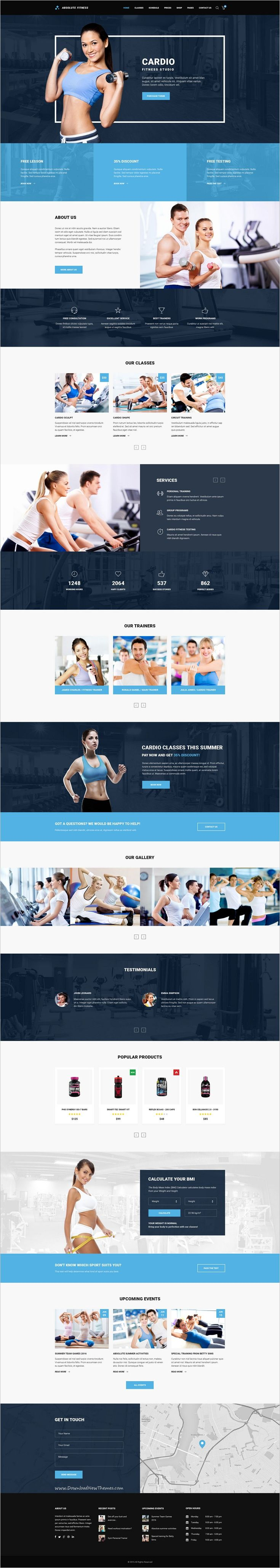 Absolute Fitness is a modern and functional #PSD #Template for #Fitness sports #clubs in different directions: GYM, Bodybuilding, Boxing, Dancing, Yoga, Personal Trainer website with 13 unique homepage layouts and 46 organized PSD pages download now➩ https://themeforest.net/item/absolute-fitness-psd-template/18599187?ref=Datasata