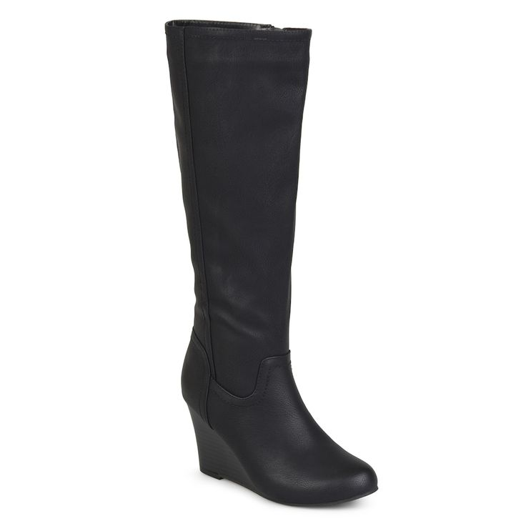 Journee Collection Langly Women's Wedge Knee High Boots, Size: medium (8.5), Black
