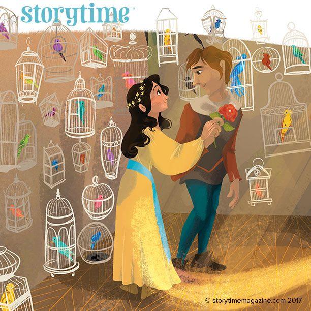 Joringel frees Jorinde from her spell in Storytime Issue 34's fairy tale, The Magic Flower. Art by Erika Meza (erikameza.com) ~ STORYTIMEMAGAZINE.COM