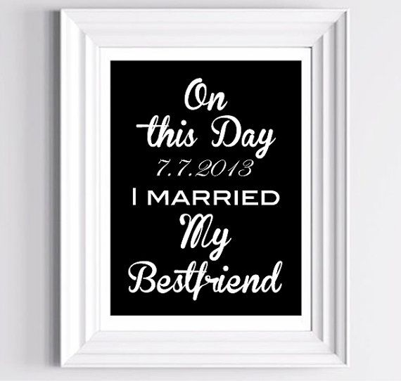 On This Day I Married My Bestfriend - Personalize Date - Wedding Typography Art Print  - 11 x 14 in. or 12 x 18 in. on Etsy, $26.00