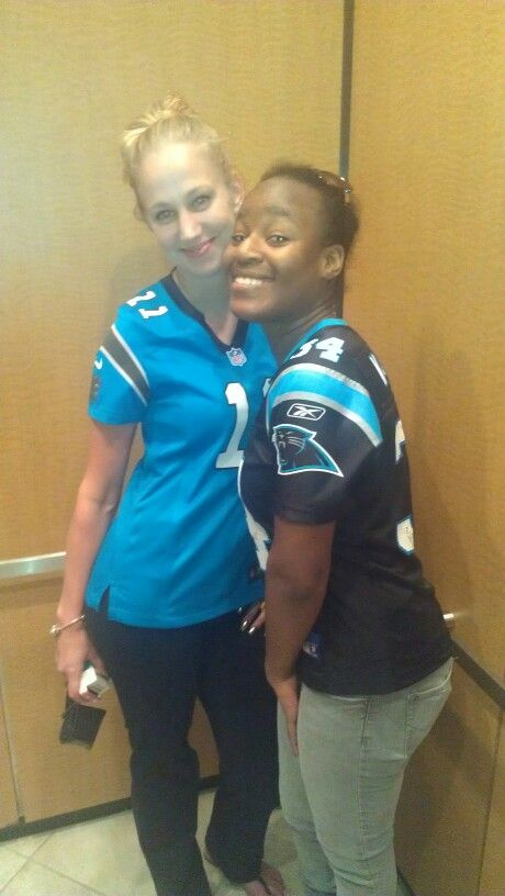 My home girl and I at heading to the Panthers vs Ravens game