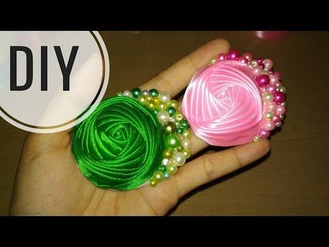 DIY || Cara Membuat Bros Bunga || Kanzashi Flower 17 - YouTube