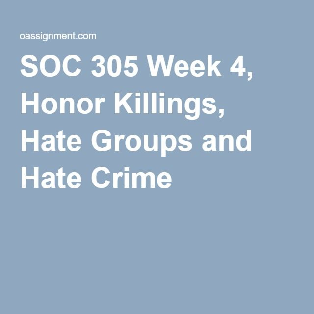 SOC 305 Week 4, Honor Killings, Hate Groups and Hate Crime