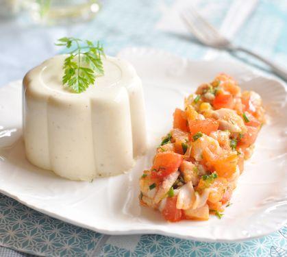 Tartare de poisson fumés aux herbes et bavarois de fromage blanc - Envie de bien manger  http://www.enviedebienmanger.fr/
