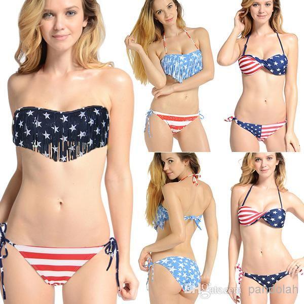 Wholesale American Flag Swimwear - Buy Newest Summer Lady Push-up Padded USA Bikinis BOHO American Flag Fringe Tassel Bandage Bathing Suits Swimwear $9.69 | DHgate.com
