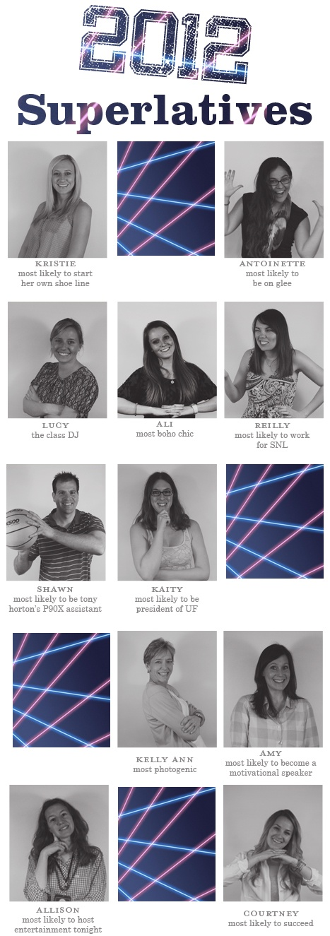 2012 superlatives! Have each class come up with superlatives and vote!