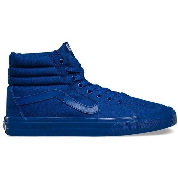 Vans Mono Canvas Sk8-Hi ($60) ❤ liked on Polyvore featuring men's fashion, men's shoes, men's sneakers, shoes, blue, mens blue canvas shoes, mens canvas shoes, vans mens shoes, mens canvas sneakers and mens cap toe shoes