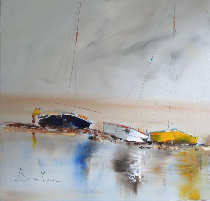 Bruno klein p cheur jaune 50x50 art ocean for Bruno klein peintre