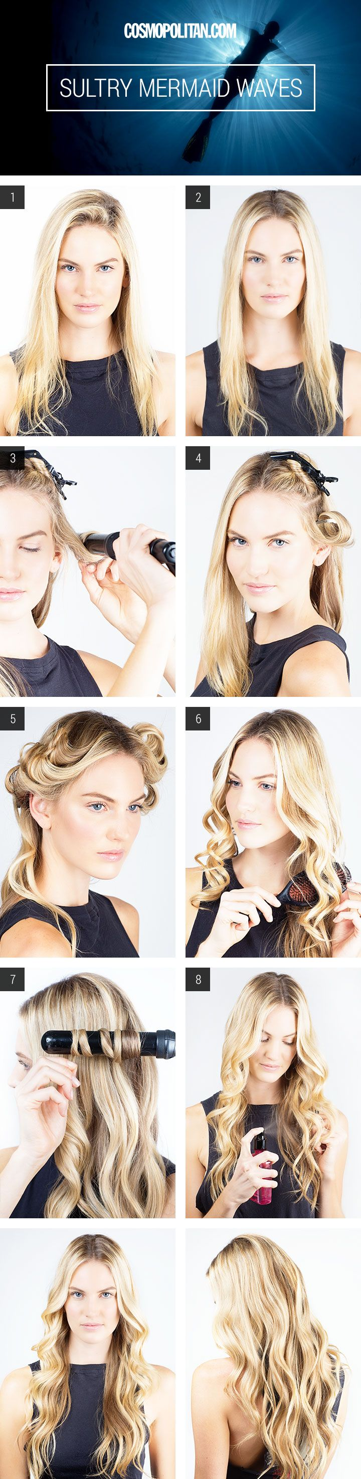 How to create gorgeous mermaid waves for Halloween this year.  http://www.cosmopolitan.com/hairstyles-beauty/beauty-blog/sultry-mermaid-waves-halloween-tutorial