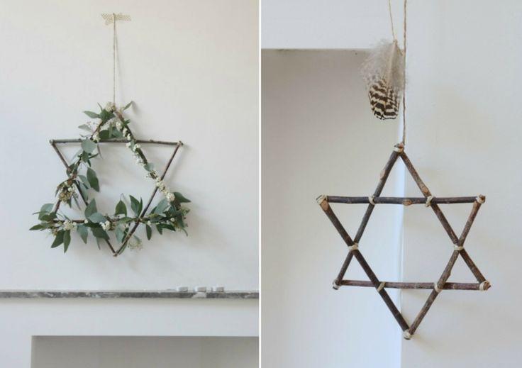 weihnachtliche deko david stern zweige naturmaterialien #weihnachtsdeko #ideen #christmasdecorations