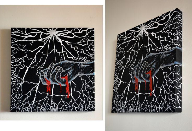 Acrylic on canvas 2012 Bleeding Size: 40×40×4 cm