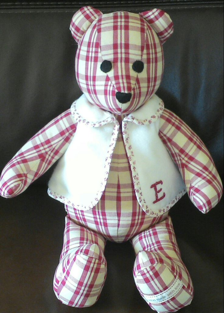 A teddy bear made for my great niece Erin.