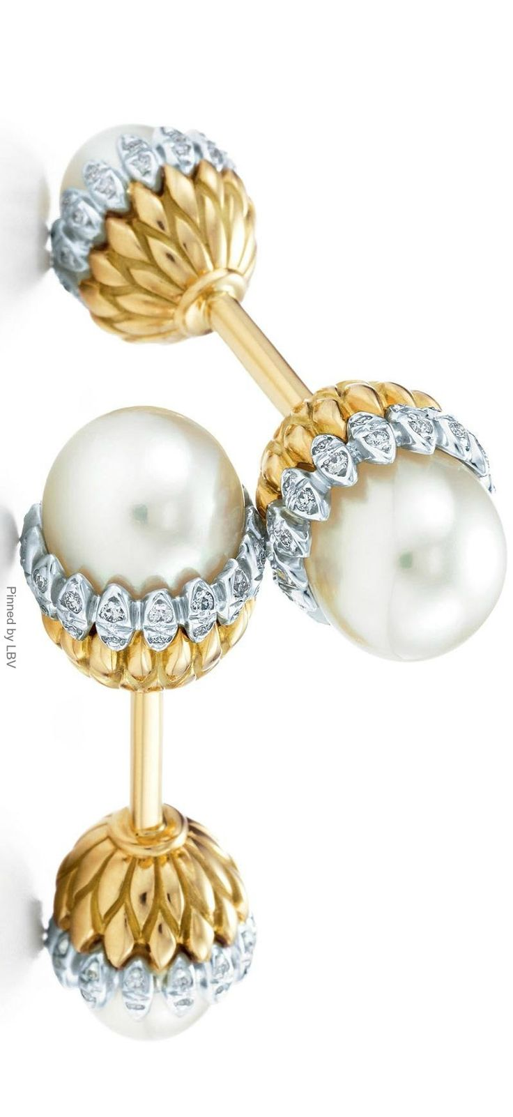 Acorn Cufflinks with Cultured Pearls and Diamonds set in 18k gold and platinum by Jean Schlumberger for Tiffany & Co | LBV ♥✤ | BeStayBeautiful
