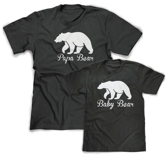 Set of Two Papa Bear Baby Bear T Shirt Tee Mens Infant by BoooTees