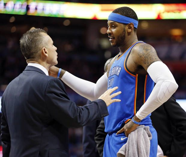 Carmelo Anthony and Oklahoma City Thunder coach Billy Donovan talk during a recent game. [Photo by Nate Billings, The Oklahoman Archives]