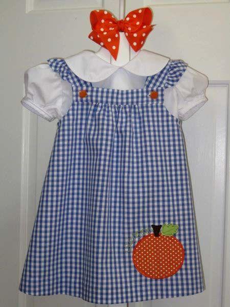"""Bridget Anderson's """"Jordan's Jumper"""" by Bonnie Blue in Bluette Gingham & Pumpkin Applique"""