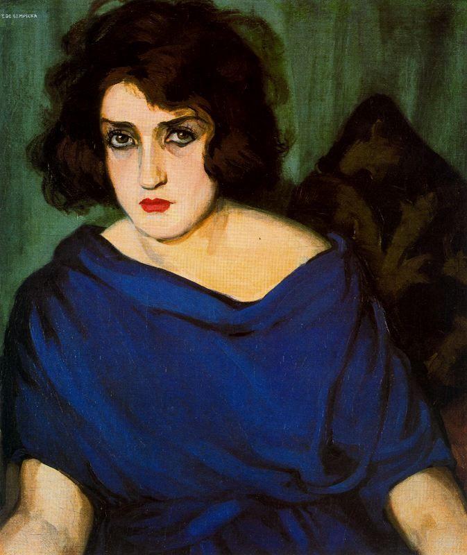 Tamara de Lempicka >> Retrato de jeune femme en bleu  |  (oleo, obra de arte, reproducción, copia, pintura).