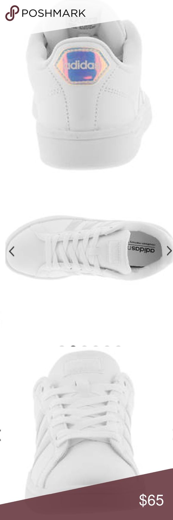 Adidas NWB classic style Cloudfoams Super classic style of Adidas we all know and love. All white with silver striping and silver Adidas logo on the back. They also have memory foam inside 😍 NWB adidas Shoes Sneakers