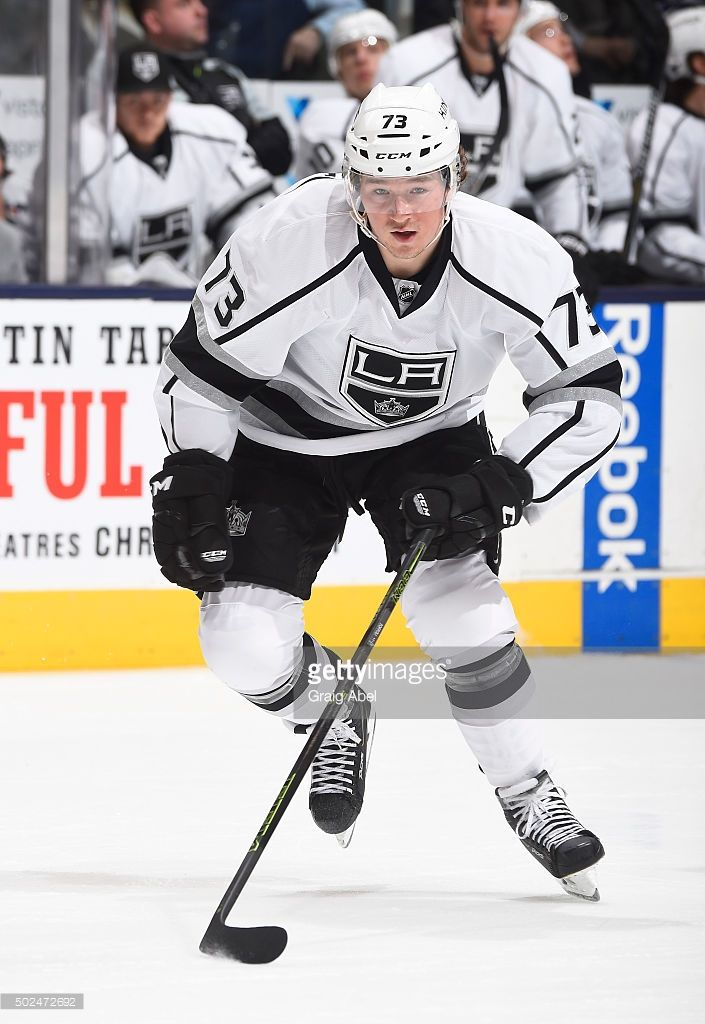 Tyler Toffoli #73 of the Los Angeles Kings skates up ice against the Toronto Maple Leafs during game action on December 19, 2015 at Air Canada Centre in Toronto, Ontario, Canada.