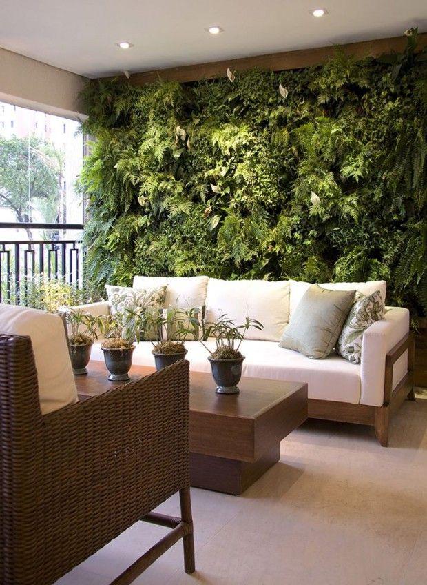 Pared verde para terraza dormitorio