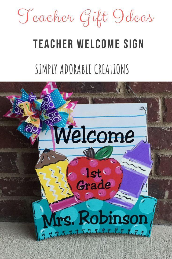 Teacher door hanger,crayon,pick your color teacher gift,gift idea,classroom decor personalized with your teachers name