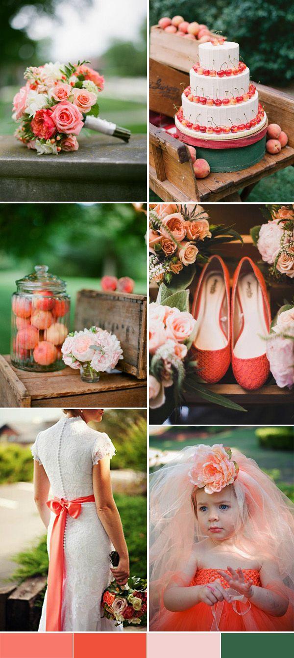 Palette colori matrimonio 2016 peach echo e verde