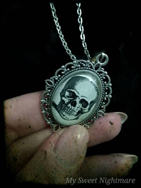Cammeo gotico con teschio su base argento skull cammeo silver